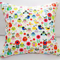 Vibrant Birds Of A Feather Pillow Slipcover 18x18 Cotton Envelope