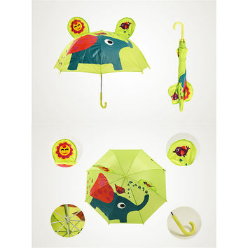 Cute Cartoon Animal Umbrella for Kids Animal Ears Bend Handle  Elephant