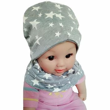 Baby Hat Nice Star Print Cotton Children Hat Scarf Collar Spring Baby Cap Kids Boys Girls Beanies Cap Toddler Hats Set