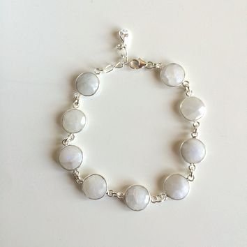 Sterling Silver wrapped Moonstones w/ Sterling Silver Clasp and Links