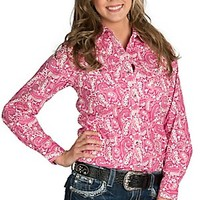 Wired Heart Women's Pink & White Floral Paisley Print Long Sleeve Western Shirt