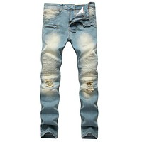 Blue Pleated Faded Slim Stretch Jeans