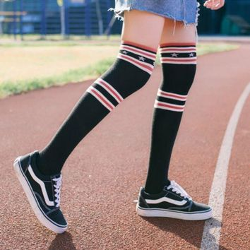 ESBON Winter Women Fashion All-match Multicolor Star Stripe Stockings Thigh Socks Highs Socks