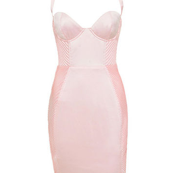 Clothing : Bodycon Dresses : 'Liana' Blush Pink Pin Tuck Bustier Dress