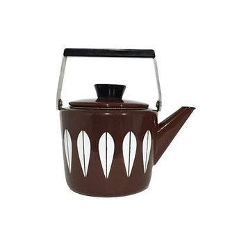 Ultra Rare Brown Cathrineholm Enamel Lotus Tea Pot, Kettle / Coffee Pot / Vintage Scandinavian Design / Norway / Mid Century Kitchen Decor