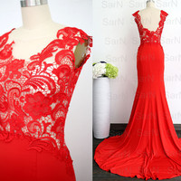Jersey Prom Dress, Red Jersey Evening Gown, Lace Jersey Red Evening Dress, Red Wedding Party Dresses, Red Jersey Formal Gown