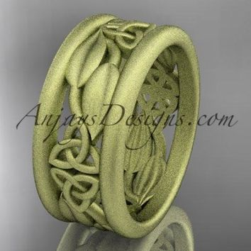 14kt yellow gold celtic trinity knot matte finish wedding band, engagement ring CT7293GA