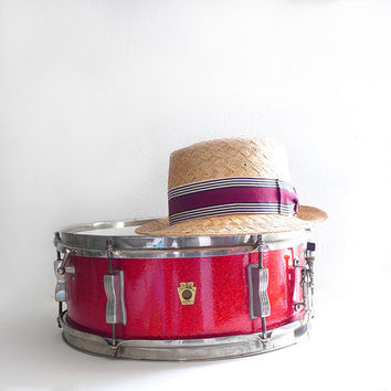 1960s Ludwig Red Sparkle Snare Drum, Red Drum, Vintage Drums, 60s Ludwig Drum
