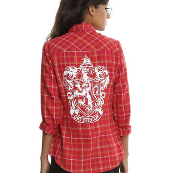Harry Potter Gryffindor Plaid Girls Woven Button-Up