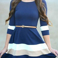 Blue and White Color Block Half Sleeve V- Back Flare Dress