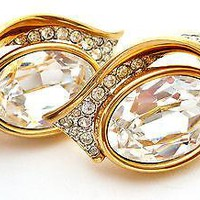Swarovski Crystal Earrings Designer Signed Fashion Wedding Jewellery Clear Gold