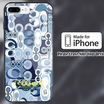 Hot Coach Blue Fashion Print On Hard Plastic Case For iPhone 8 plus iphone X