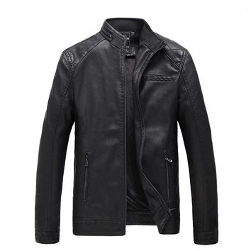 Wadded Bomber Solid Hip Hop Leather Jacket