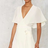 Chiffon the Way Wrap Dress - Ivory