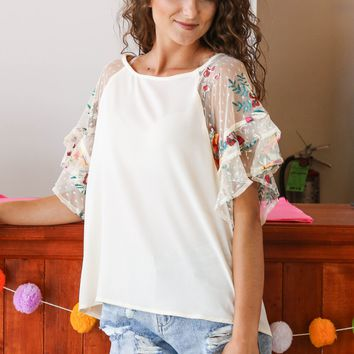 Ruffle Me In Floral Top, Natural