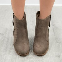 The Good Times Taupe Suede Bootie