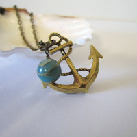 Anchor Necklace  Antique Brass by 636designs on Etsy