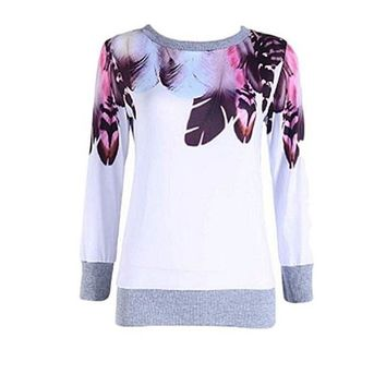 [14887] Feather Print Sweater