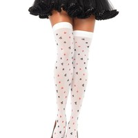 Card Suit Print Thigh High Stockings : White Leggings and Tights from Leg Avenue