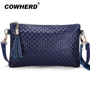 Cowherd Women Genuine Cow Leather Hand Bag Tassel Knitting Pattern Ladies Day Clutches Shoulder Crossbody Messenger Bags