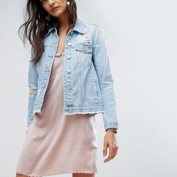 River Island Distressed Boyfriend Denim Jacket at asos.com