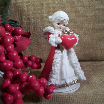Antique Angel with Red Heart Gift  Bone China Fringe Lace Figurine Handpainted with Gold Trim Keepsake Home Decor Christmas Valentine's Day