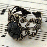 Snowflake Obsidian and Silver Ring - $17.00 : RagTraderVintage.com, Handmade Indie Retro Accessories