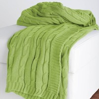 Lime Cable Knit Throw Blanket