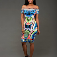 African Print Bodycon Dress With Slash Shoulder
