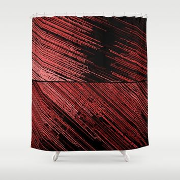 Line art, the scratch, red - abstract lines on canvas pattern, surreal concept art Shower Curtain by Peter Reiss
