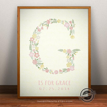 Custom Baby Name Grace Art- Letter G Monogram Nursery Art, Initial Art Print, Alphabet G, Baby boy, Initial, Nursery Print, Wall Decor