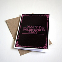 Happy Valentine's Day - Black & Pink Valentine's Day Card - Stranger Valentines - Seasons Greeting - Pop Culture - 5 X 7 Inch card