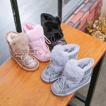 Glitter Faux Fur Lace Up Snow Boots