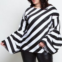 Shirley Black And White Striped Long Sleeves Top