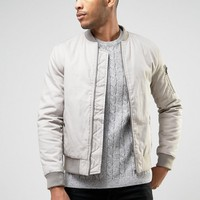New Look MA1 Bomber In Stone at asos.com