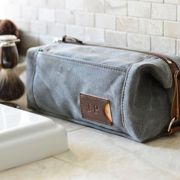 NO. 349 Personalized Expandable Toiletry Dopp Kit with Leather Tag, Gray Waxed Canvas