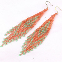 Native American Beaded Earrings Inspired. Mint and Peach Earrings. Geometric Dangle Long Earrings. Beadwork