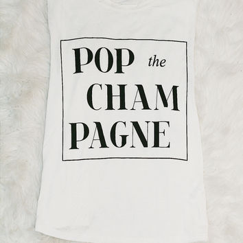 CHAMPAGNE POPPIN' TANK IN WHITE