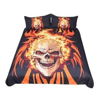 Flaming Skull Bedding Set (Super Soft Duvet Cover with Pillowcases)