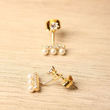Dangle Back Post Rhinestone with Pearl Earrings