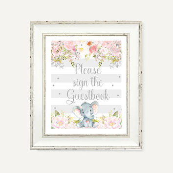 Baby Girl Pink and Gray Baby Shower Party Decor - Sign Guestbook - Baby Girl Party Printable - Elephant Party Printables - Pink Gray Decor