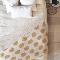Allyson Johnson Gold Dots Fleece Throw Blanket