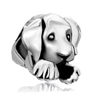 Pugster® Silver Cute Puppy Dog Charm Bead| Fits all European Charm Bracelets (©Biagi, ©Chamilia, Dione™)| Large hole| Christmas Gift for Her