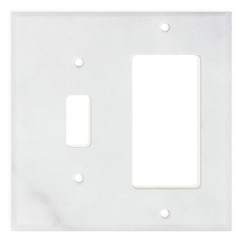Italian Carrara White Marble Toggle Rocker Switch Wall Plate / Switch Plate / Cover - Honed