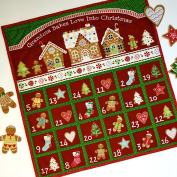 Advent Calendar - Quilted Wall Hanging - Grandma Cookies Heirloom Keepsake - Children Activity Panel - Holiday Decor - Christmas Quilt