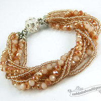 Amber Multi strand Crystal bracelet amber beaded jewelry multi strand bracelet champagne crystal bracelet sparkly evening bracelet wedding