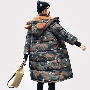 Camouflage Military Jackets 2017 Winter Jacket Women Lambs Wool Parka Thick Hood Down Cotton Coat Casaco Feminino Inverno C3369