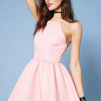 ESBON Casual Pink Spaghetti Strap Backless Halter Dress