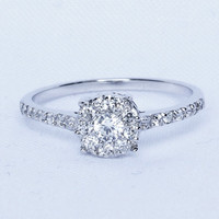 Natural White Sapphire Solitaire engagement ring - available in white gold or strling silver - handmade