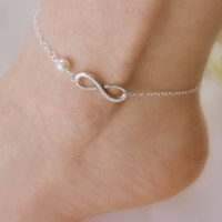 Pearl Infinity Anklet  Pick your Color by ElegantChicJewel on Etsy